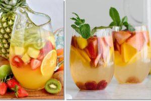 Sangria deliciosa de Champanhe e frutos frescos
